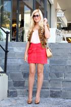 red asos skirt