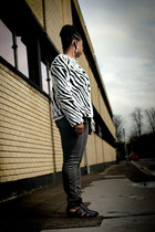 animal print H&M coat - skinny Gap jeans - black asos sandals
