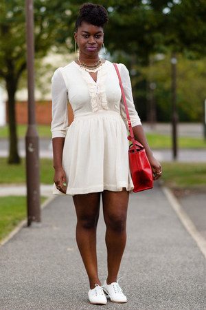 cream H&M dress - red satchel Zara bag - white Matalan loafers