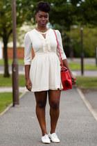 cream H&M dress - red satchel Zara bag - white Matalan loafers