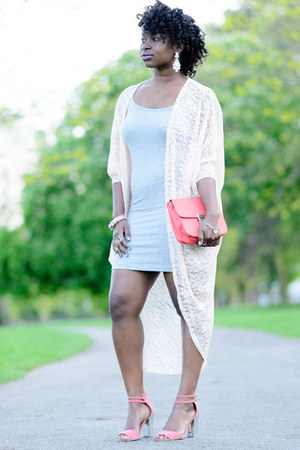 grey Primark dress - lace boutique jacket - clutch Matalan bag
