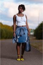 denim pencil Newlook skirt - white Matalan vest - neon asos sandals