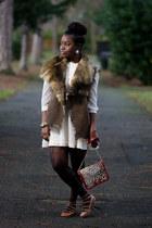 faux fur Marks and Spencers vest - chiffon H&M dress - leopard print Matalan bag