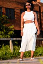 crop top H&M top - culottes asos pants - white Birkenstock sandals