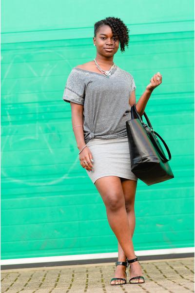grey Primark t-shirt - bodycon Primark dress - black tote Zara bag