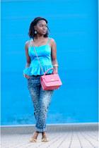 blue peplum Dorothy Perkins top - boyfriend jeans asos jeans