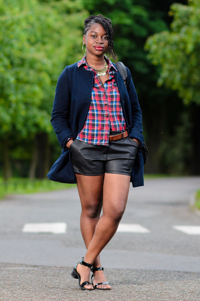 navy H&M jacket - Influence shirt - faux leather Matalan shorts