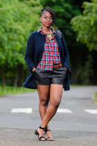 navy H&M jacket - Influence shirt - faux leather Matalan shorts