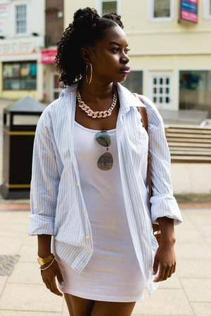 striped Debenhams shirt - white bodycon Primark dress