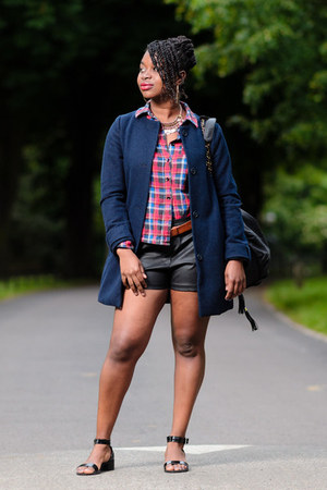 blue H&M jacket - Influence shirt - faux leather Matalan shorts