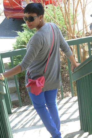 pink Urban Outfitters purse - blue Levis jeans - gray Forever 21 cardigan