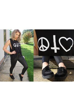 vest Missguided top - disco pants Missguided pants - creepers Ebay flats