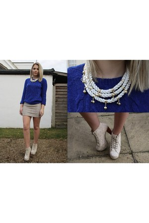 rope necklace H&M necklace - Ebay boots - H&M jumper - metallic H&M skirt