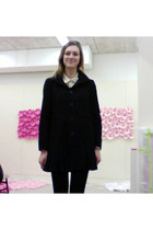 black asoscom coat - navy InVito boots - cream asoscom shirt