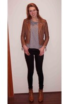 bronze warehouse jacket - black jeans - heather gray t-shirt - tawny wedges