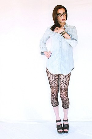 DIM leggings - denim Esprit shirt - Zara clogs