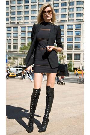 black unsure boots - black  dress