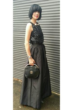 vintage skirt - Heirloom Vintage bag - pearl choker Pixie Market necklace