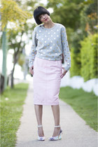 pink leather River Island skirt - metallic dot Gorman sweatshirt - Miista heels