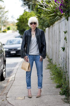 leather fringed vintage from Ebay jacket - DIY distressed Lee jeans jeans