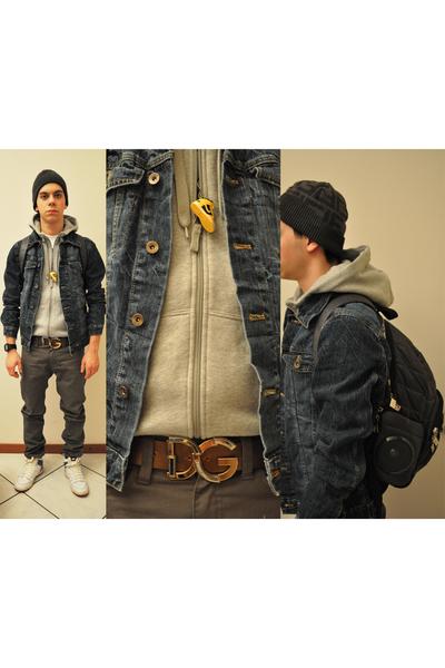 gray Fendi hat - blue H M jacket - gray H M sweater - brown D G belt - ea444224757