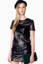 Perforation Faux Leather Dress