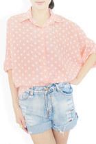 light pink StyleSofia shirt - sky blue StyleSofia shorts
