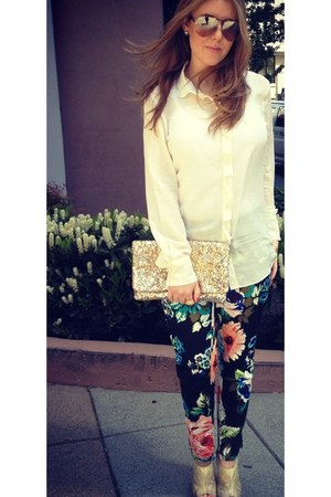 black H&M pants - gold BCBGMAXAZRIA bag - gold Dolce & Gabbana sunglasses