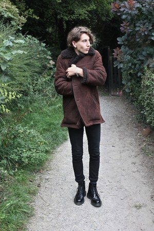 brogues Loake boots - brown shearling vintage coat