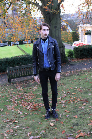 black leather jacket Lewis Leathers jacket - black creepers George Cox shoes