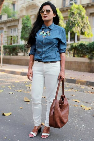 white Zara jeans - chambray asos shirt - hobo Cole Haan bag