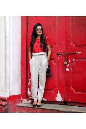 crop top Masaba Gupta top - sling Steve Madden bag - pleated Zara pants