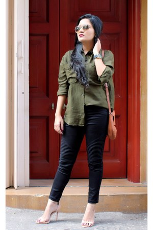 moto Forever 21 leggings - military green asos shirt - tan Mango bag