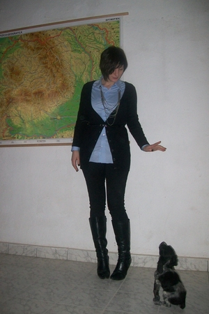 blue calliban shirt - black H&M cardigan - black yess miss pants - silver vintag