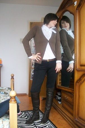 brown Zara cardigan - white Sisley shirt - brown yess miss pants - brown vintage