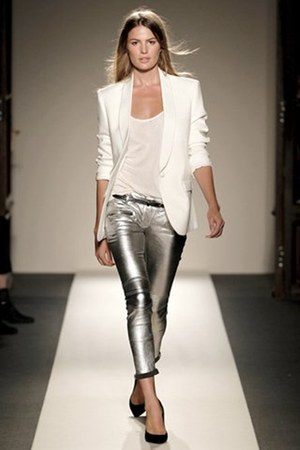 white boyfriend fit Balmain blazer - silver wetlook Balmain pants