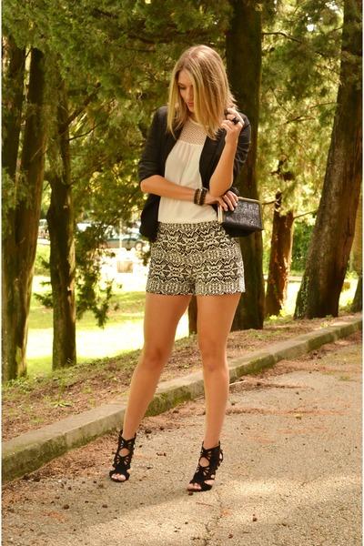 white Stradivarius shorts - black Stradivarius blazer