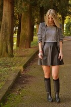 black Zara boots - charcoal gray Zara shirt - black Calzedonia socks