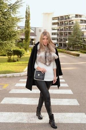 black biker new look boots - black Zara coat - white Bershka sweater