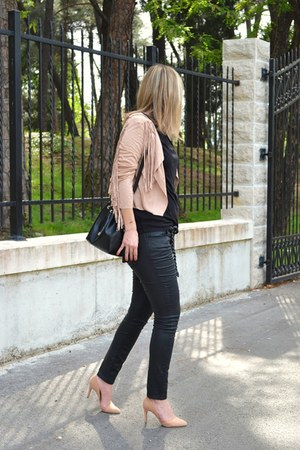 nude fringe Sheinside jacket - black Zara bag - black Zara pants