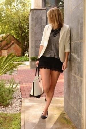 heather gray Zara shirt - white Sheinside blazer - New Yorker bag