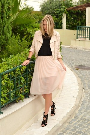 light pink biker H&M jacket - black H&M top - light pink sheer asos skirt