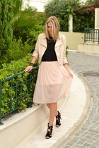 light pink biker H&M jacket - black H&M top - light pink sheer asos skirt