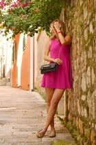 hot pink H&M dress - tan leopard print Aldo loafers - hot pink Cruciani bracelet