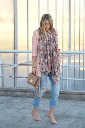 peach Stradivarius coat - boyfriend Stradivarius jeans - peach SIX scarf
