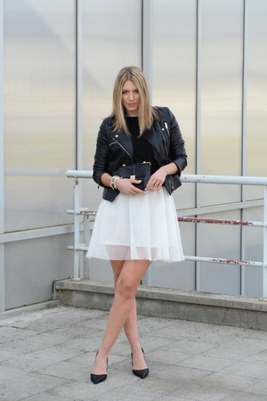 black biker Choies jacket - black Zara bag - white mesh Front Row Shop skirt