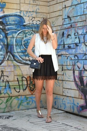 white sleeveless Sheinside blazer - black Zara bag - white asos top