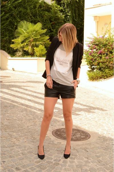 heather gray Zara t-shirt - black Stradivarius blazer