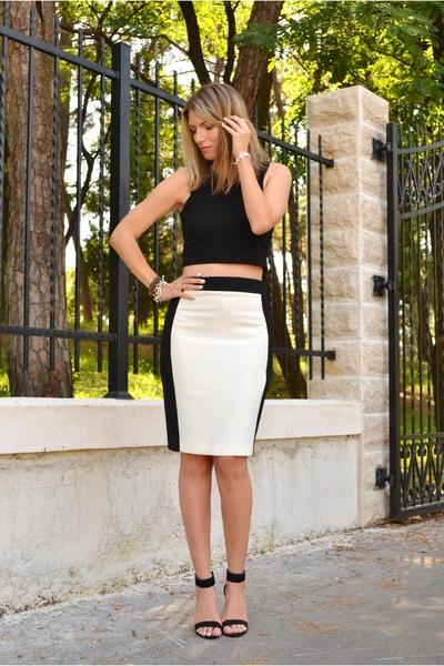 black crop pull&bear top - black Stradivarius heels - white pencil Zara skirt