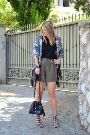 black bucket bag Zara bag - kimono Sheinside jacket